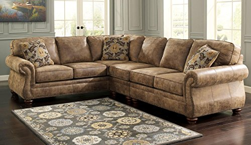 Left 3 Piece Sectional (Ashley 31901-56-46-66 Larkinhurst 3-Piece Sectional Sofa with Right Arm Facing Loveseat Armless Chair and Left Arm Facing Sofa in Earth)