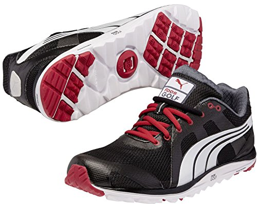 PUMA Men's Faas Lite Mesh 2.0 Golf Shoe,Black/White/Crimson,10.5 M US