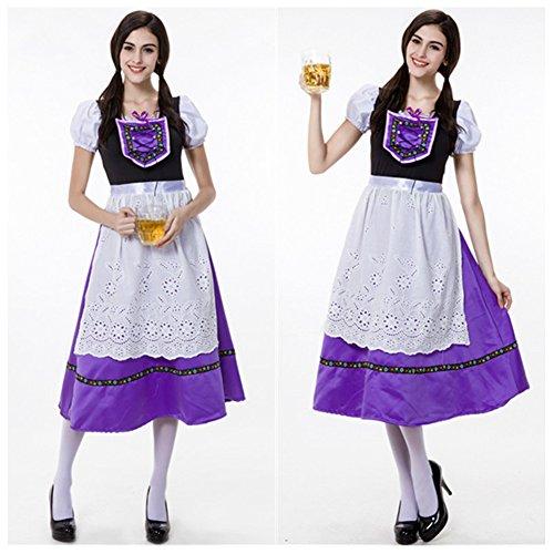 [Fashionanna Women's Dirndl Serving Wench Bavarian Beer Girl Oktoberfest Adult Costume Beer Dress] (Beer Maids Costume)