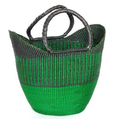 LARGE SHOPPING BASKET / SHOPPER – HANDMADE GHANA BOLGA AFRICA – FAIR TRADE (Green)