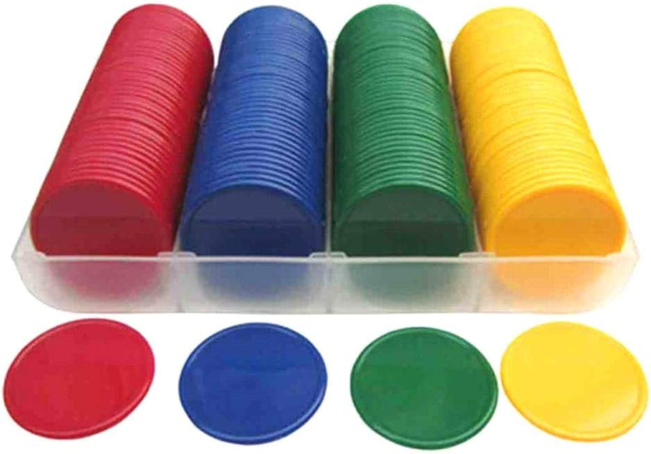 fineshelf 160Pcs Counters Plastic Counting Chips Bingo Markers for Math or Games (Mixed 4 Colours)