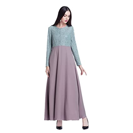 Haodasi Muslim Kaftan Islamic Middle East Abaya Cloth Malaysia Long Sleeve Lace Patchwork Dress Apparel Arab Robes: Amazon.co.uk: Clothing