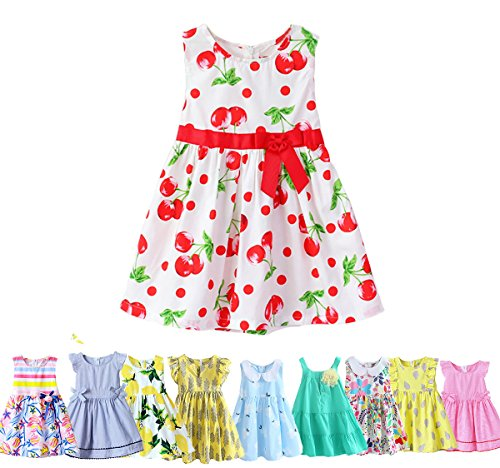 (Abalaco Girls Kids 100%Cotton Crew Neck Red Cherry Summer Sleeveless Sundress Casual Tutu Party Dress 2-8T (5-6 Years))