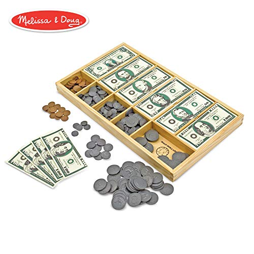 - Melissa & Doug Classic Play Money Set (Developmental Toys, 50 of Each Denomination, Wooden Cash Drawer)