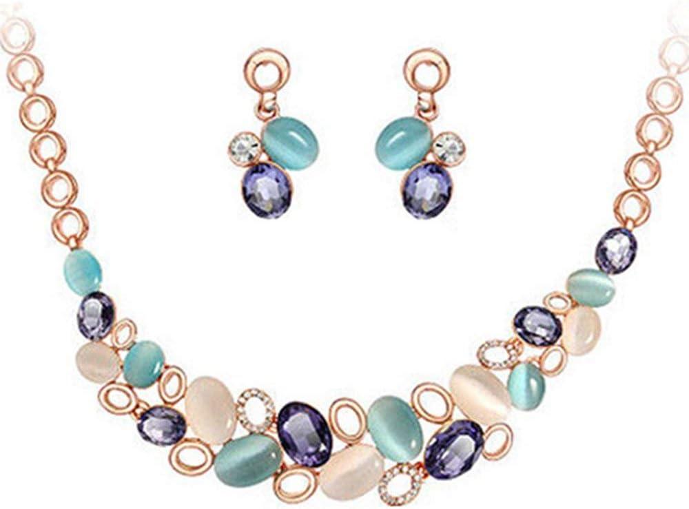 Vektenxi //Frauen Multicolor Crystal Opal Halskette Ohrringe Ohrstecker Schmuck-Sets tragbar und n/ützlich