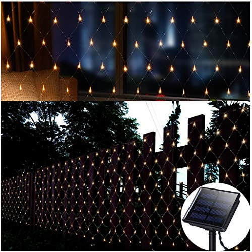 Solar Led Net Lights,100 LEDs Net Mesh Tree-Wrap Lights 4.9ft x 4.9ft,Dark Green Cable,8 Modes Outdoor String Decorative Lights for Window Wall Background Camping Beach Garden Patio (Warm White)