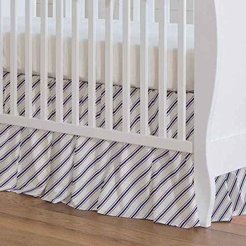 Carousel Designs Gray and Purple Necktie Stripe Crib Skirt 17-Inch Gathered 17-Inch Length - Organic 100% Cotton Crib Skirt - Made in The USA ()