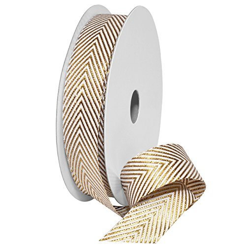 Zig Zag Tree Decoration - Morex Ribbon 7604.22/25-634 Polyester Herringbone Metallic Ribbon, 7/8