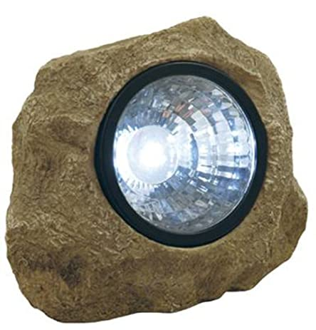 Moonrays  Solar Powered Rock Spotlight With Key Hider Garden Accent