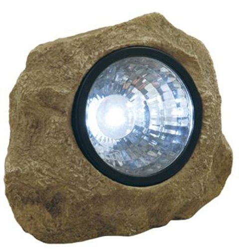 Moonrays 91211 Rock Solar Spotlight with Built in Key Hider, 6-Lumens.35-Watt, 120-degree Beam Angle, White LED Light, One Rechargeable NiCd Battery - Sundial Solar