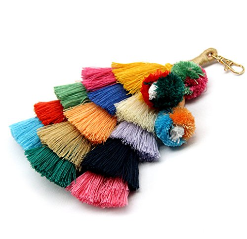 Colorful Boho Pom Pom Tassel Bag Charm Key -