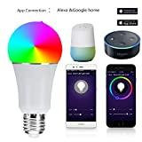 Cheap HJD Light E27 RGBW LED Bulb Light Dimmable WIFI Wireless APP Remote Control Smart Light bulb working with Alexa/Android/IOS System
