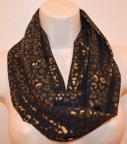 cheetah print infinity scarf, black gold infinity scarf, spring scarf, summer scarf, women scarf, infinity loop