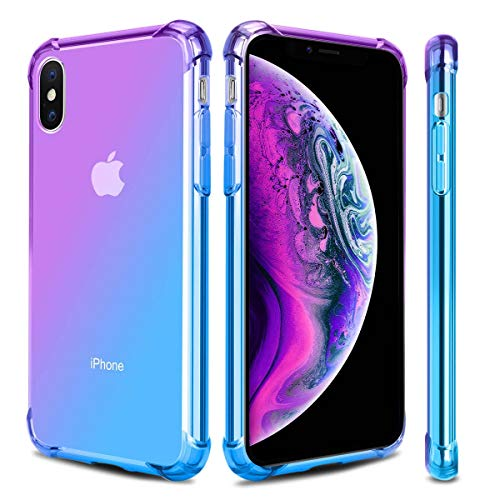 Airror Phone Case Compatible with iPhone Xs MAX, Clear Multi-Color Gradients Slim Case, Impact Resistant Protective Flexible Soft TPU Cover [ Support Wireless Charging ] (Compatible Color Pack Multi)
