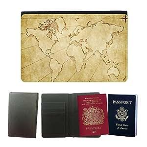 Passeport Voyage Couverture Protector // V00001974 mapa del mundo de papel viejo sucio de // Universal passport leather cover