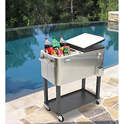 Patio Beverage Cooler Cart Durable Stainless Steel 80QT/20Gal/24 Can Capacity- Picnics, Pool, Camping, Patio-Convenient Two Side Access Perfect For Food, Beverage or Ice Storage- Extra Shelf Storage