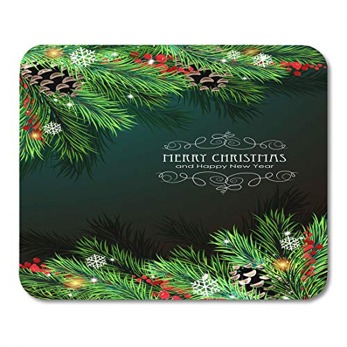 (Semtomn Mouse Pad Red Abstract Christmas Sparkles Snowflakes Fir Branches and Cones Mousepad 9.8