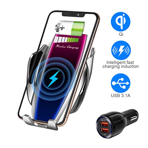 Wireless Charger Car Touch Sensing Automatic Retractable Clip Fast Charging Compatible for iPhone Xs Max/XR/X/8/8Plus Samsung S9/S8/Note 8 (Matte Silver)