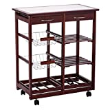 Drawers dining 4-tier rolling wood kitchen trolley cart storage for adding extra counter space