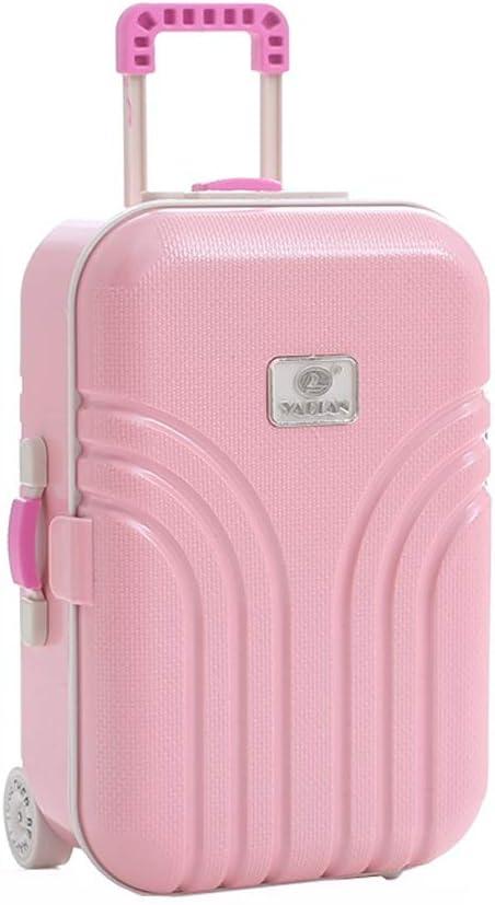 WJLHJT Joyería musical joyería caja de almacenamiento de la maleta del equipaje de la carretilla princesa giratoria de la caja de música del espejo cosmético de Jewelkeeper chica caja de almacenamient