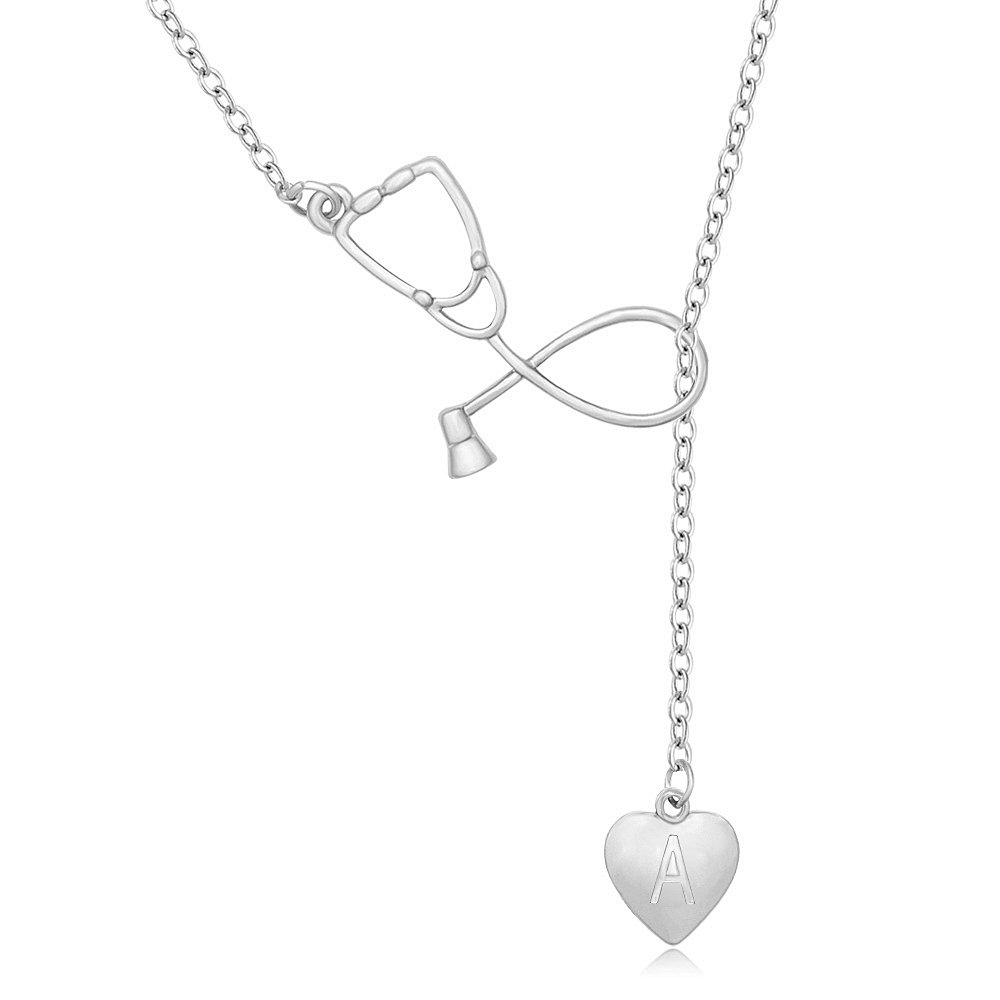 MANZHEN Silver Stethoscope Lariat Necklace Heart Charm Initial Letter Stethoscope for Doctor Nurse