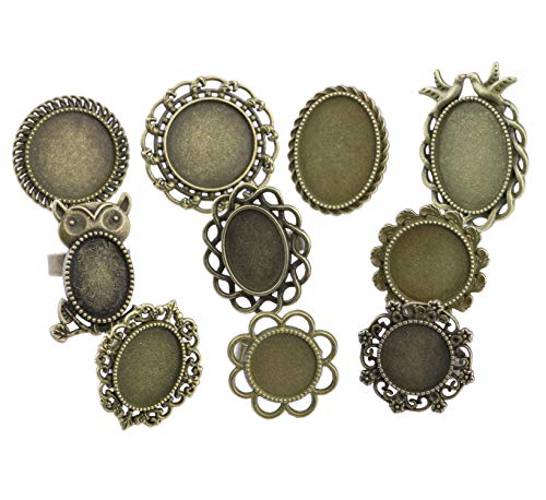20pcs Antique Bronze Oval Round Opening Adjustable Cabochon Rings Settings Finger Ring Components Iron Cabochon Bezel Settings for Ring Making (Antique -
