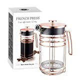 quick cafe travel coffee maker - AmoVee French Press Coffee Maker Tea Maker with 304 Stainless Steel and Heat Resistant Borosilicate Glass, Bonus Stainless Steel Screen and Measuring Spoon Included, 1 Liter 34 oz (8 Cup), Rose Gold