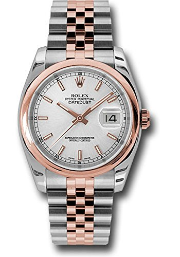 Rolex Oyster Perpetual Datejust 36mm Stainless Steel Case, 18K Pink Gold Domed Bezel, Silver Dial, Index Hour Markers, And Stainless Steel And 18K Pink Gold Jubilee Bracelet.