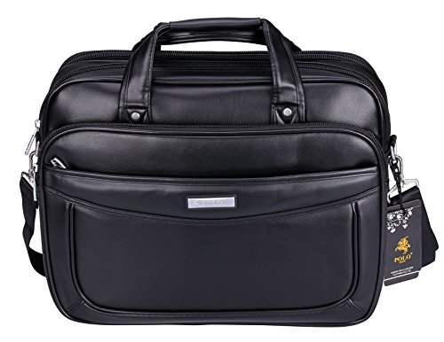 POLO VIDENG Leather Business Briefcase,Extended 15.6 inch Laptop Shoulder Bags Casual Travel Handbag (Black-M1)