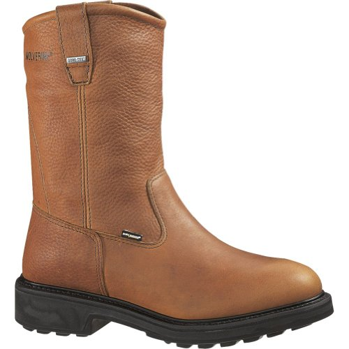 Wolverine Durashocks 2573 SR Gore-tex Safety Toe Wellington Boot - Brown - (Brown Gore Tex Durashock Boot)