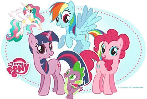 My Little Pony Friendship Is Magic Rainbow Dash Pinkie Pie Twilight Sparkle Spike Princess Celestia Edible Cake Topper Image ABPID05064 - 1/8 sheet