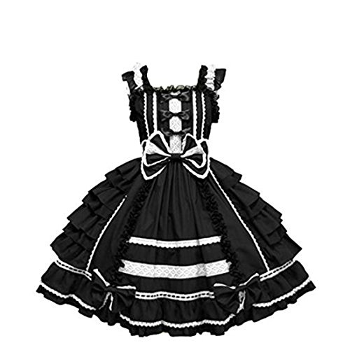Nuoqi Customized Sweet Princess Lolita Dress Lace Cosplay Costumes Black (Anime Cosplay Dress)