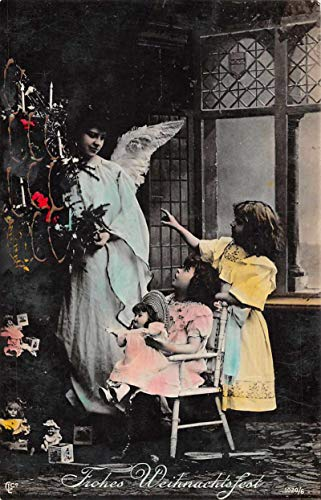 Christmas Greetings Children Dolls Angel Tinted Real Photo Postcard JE228705
