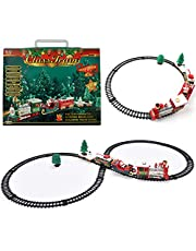 Classic Christmas Train Set with Sounds Electric Musical Train Set Battery Powered Railway Track Playset Train Set for Kids with Sounds Electric Model Train Toy Set Party Decor