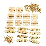 Dophee 5Pcs Gold Cabinet Latch Hasps Decorative with 10Pcs Retro Door Hinges