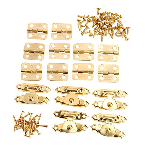 Gold Box Hinge - Dophee 5Pcs Gold Cabinet Latch Hasps Decorative with 10Pcs Retro Door Hinges