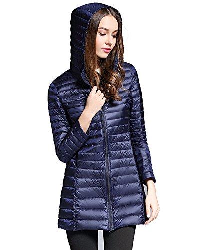 ZhuiKun Women's Down Coat Lightweight Packable Long Hooded Puffer Jackets Outwear Navy