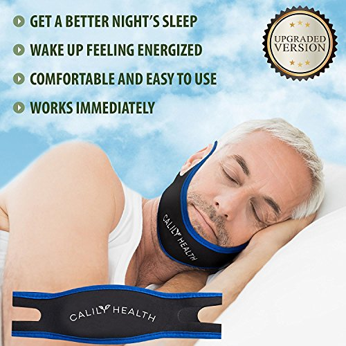 Calily Health Anti-Snoring Chin Strap Fully Adjustable – Natural and Instant Snore Relief – Stop Snoring Solution – Simple, Fast and Natural [Upgraded]