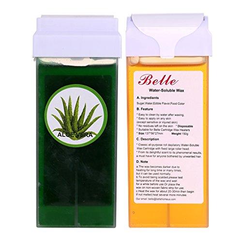 Belle 150g(5.30oz) Water Soluble Depilatory Sugar Wax Cartridge Waxing Aloe Vera with Honey 2 Wax Rollers on