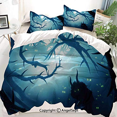 Mystic House Decor Decor Duvet Cover Set Queen Size,Animal with Burning Eyes in Dark Forest at Night Horror Halloween Illustration,Decorative 3 Piece Bedding Set with 2 Pillow -