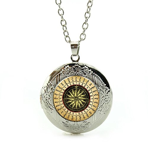 Women's Custom Locket Closure Pendant Necklace Abstraction Digital Compass Included Free Silver Chain, Best Gift Set
