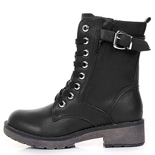 Mujer Sintética Piel Negro Botas Para Shoes Negro Click de 4qHYYv