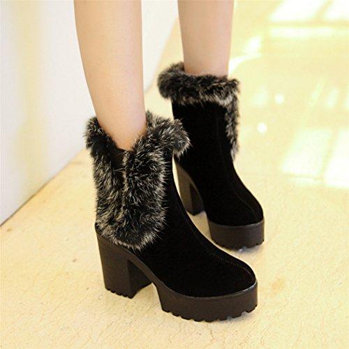 grueso mujeres y minimalista con impermeable el Taiwán a número de cabeza botas otoño y QXEl de y ZQ gran botas de alto tacón los redonda versátil Black un invierno zapatos corto vBfHP
