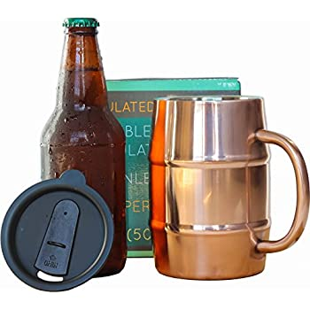 PureCopper Double Wall Stainless Steel Copper Plated Insulated Beer Mug, 17 oz. / 500 ml