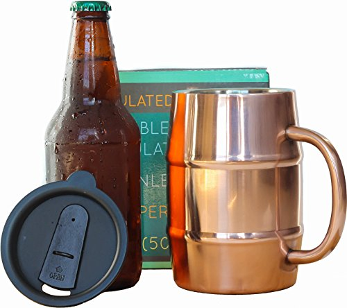 Insulated Beer Mug - Ice Cold to the Last Drop! Perfect Gift for Beer Lovers - Double Wall Stainless Steel, Copper Plated 17oz 500mL (Beer Mug Travel)