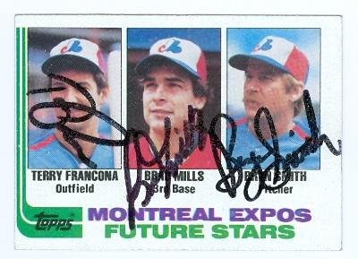 118 Terry (Terry Francona, Bryn Smith & Brad Mills autographed Baseball Card (Montreal Expos) 1982 Topps #118 - Autographed Baseball Cards)