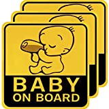 Mtlee 3 Pieces Baby on Board Car Sign Magnetic Reflective Safety Caution Sign, 4.92 by 4.92 Inch