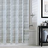 EXCELL Tartan Plaid Shower Curtain, Silver