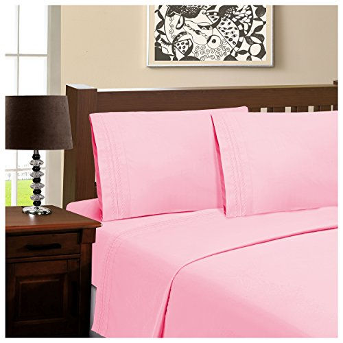 Superior Infinity Embroidered Luxury Soft, Cooling 100% Brushed Microfiber 4-Piece Sheet Set, Light Weight and Wrinkle Resistant - Full Sheets, Pink (Stripe Jersey Top Subtle)