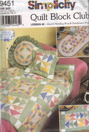 Puzzle Quilt Pattern (Simplicity Pattern 9451 Quilt Block Club Lesson #6 - Double Wedding Ring & Dutchman's)
